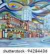 Oil painting of Seattle downtown. Modern city. - stock photo