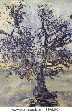 oil painting of tree without leaves on canvas