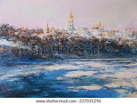 oil painting,oil painting, landscape, church away - stock photo