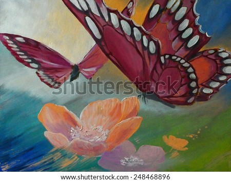 Oil painting on canvas- Butterfly on flowers - stock photo