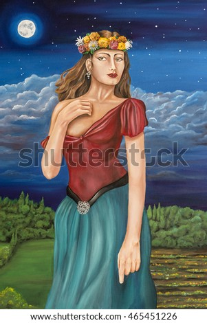 Oil painting on canvas of a woman in a Pre Raphaelite style