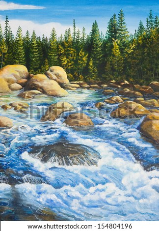 Oil painting on canvas.River roll - stock photo