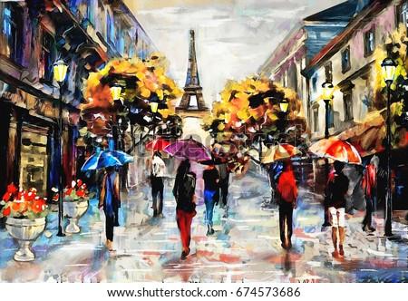 Oil Painting Paris European City Landscape Stock