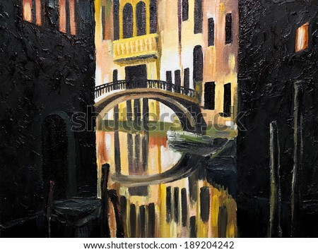 oil painting on canvas - Venetian bridge - stock photo