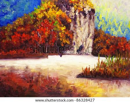 Oil Painting - Park in Autumn - stock photo