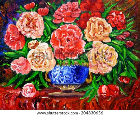 Oil Painting - Rose  - stock photo