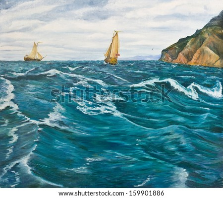 Oil painting. Sailboats in the stormy sea