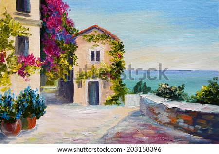 oil painting - Santorini, house near the sea - stock photo