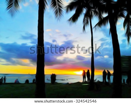 Oil Painting, Sea view, Sunset at Hawaii Beach, Abstract Wallpaper, Background Art - stock photo