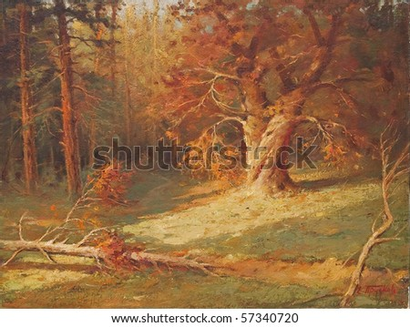 Oil painting showing beautiful forest landscape, with focus on the big old tree. - stock photo