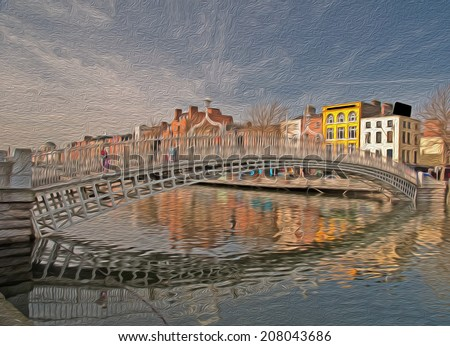 oil painting showing famous dublin landmark ha penny bridge ireland - stock photo