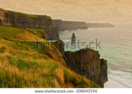 oil painting sowing the cliffs of moher in ireland - stock photo