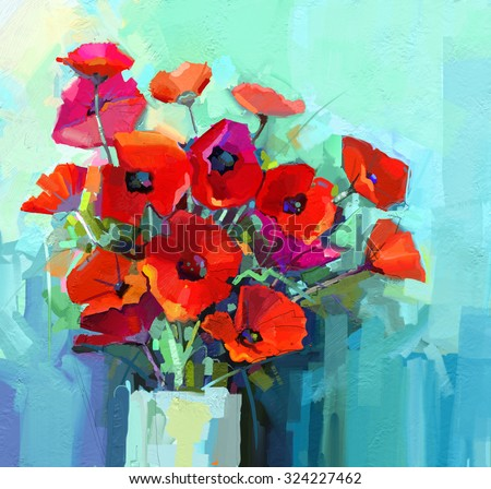Oil Painting - Still life of red and pink color flower. Colorful Bouquet of poppy flowers in vase. Color green and blue background. Hand Paint floral Impressionist style. - stock photo