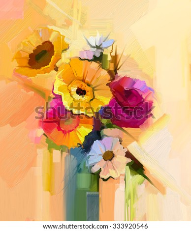 Oil painting still life of white, yellow and red flower. Hand Painted floral Gerbera, Daisy, sunflower and rose with green leaf bouquet. Spring flowers in vase - stock photo
