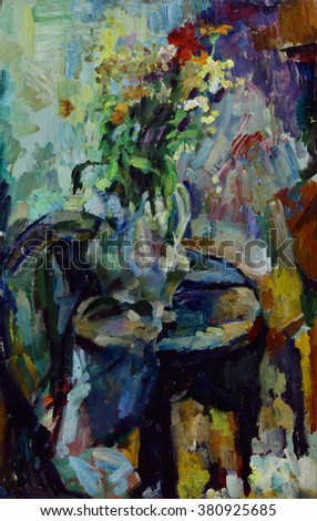 Oil Painting Still Life With Flowers In A Vase Bright Colors Impressionist Style On