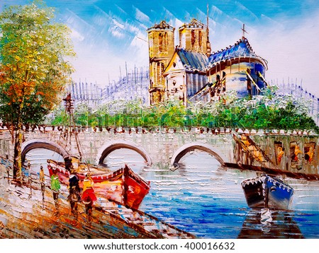 Oil Painting - Street View of Paris - stock photo