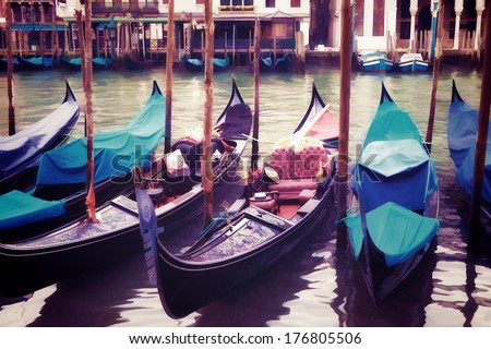 Oil painting style picture of gondolas in Venice, Italy - stock photo