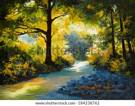 Oil Painting - summer forest, meadow with violets - stock photo