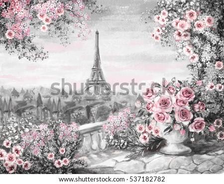 Oil Painting Summer In Paris Gentle City Landscape Flower Rose And Leaf