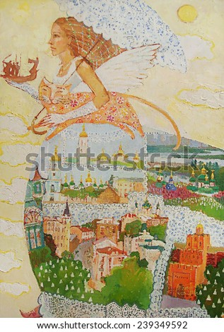 oil painting, symbols of the country, a symbol of Ukraine, the woman goes into landscape - stock photo