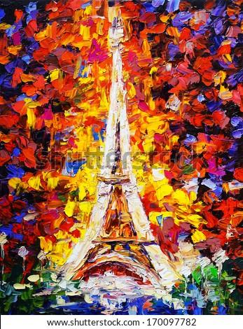 Oil Painting - Tower Eiffel, Paris - stock photo