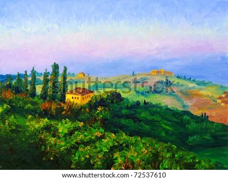 Oil Painting - Twilight - stock photo