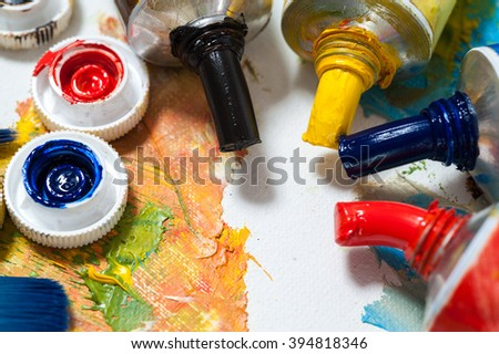 Oil paints, art workshop, the concept of creativity and art therapy.