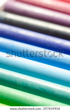 oil pastel crayons in a row - stock photo
