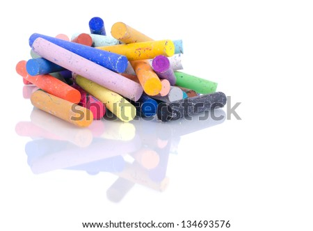 Oil Pastel Crayons on white background