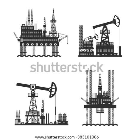 Oil Petroleum Platform Black And White - stock photo