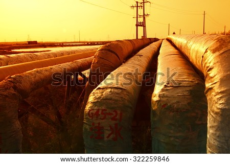 Oil pipeline, the oil industry equipment - stock photo