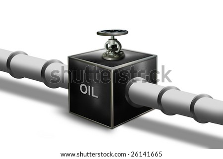 oil pipeline with control valve - stock photo
