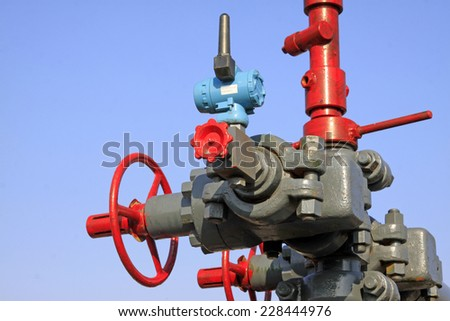 Oil piping components, closeup of photo
