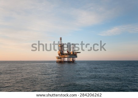 Oil platform at day - stock photo
