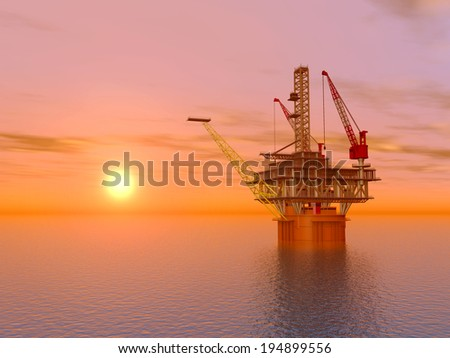 Oil Platform at Sunset Computer generated 3D illustration - stock photo