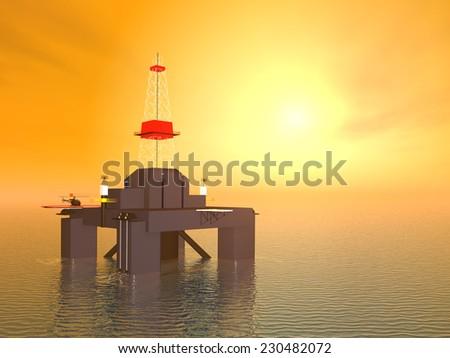 Oil Platform at Sunset Computer generated 3D illustration - stock photo