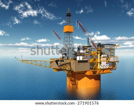 Oil Platform Computer generated 3D illustration - stock photo