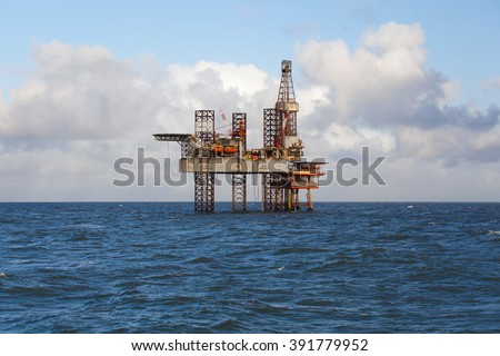 Oil platform during the day