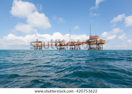Oil platform in Angola - stock photo
