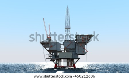 oil platform in ocean 3d illustration