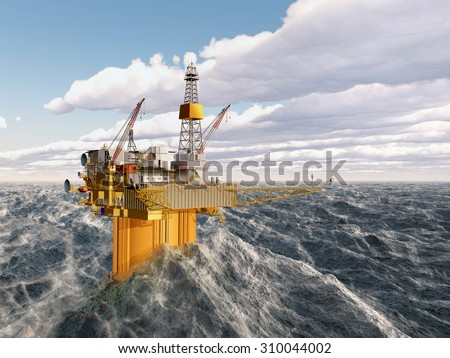 Oil platform in the stormy ocean Computer generated 3D illustration - stock photo