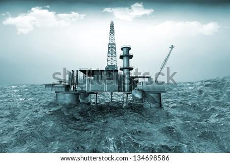 Oil platform on background of ocean - stock photo