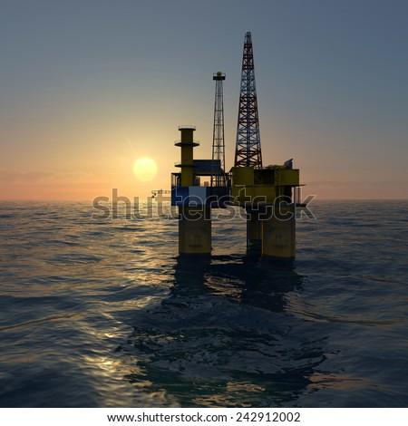 Oil platform on sea during sunrise - stock photo