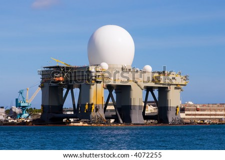 Oil platform turned into a radar missile monitoring system for the military - stock photo