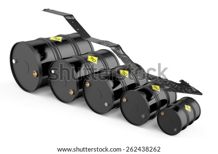Oil price falling concept isolated on white background - stock photo