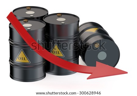 Oil price falling concept with oil barrels - stock photo