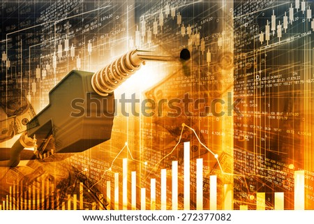 Oil price graph, oil pump nozzle and stock market  chart  	 - stock photo
