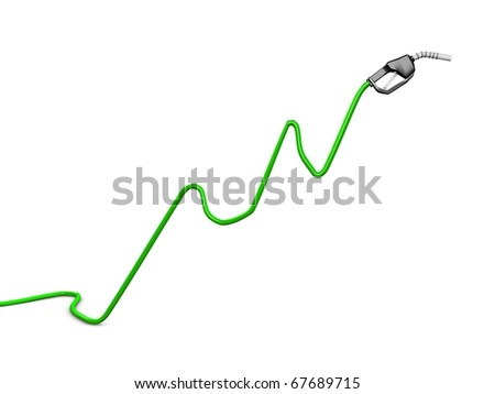 Oil price rise chart concept image, isolated on white background. - stock photo