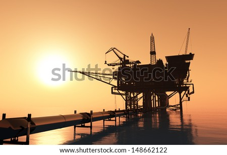 Oil production and the pipe in the sea.