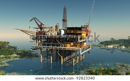 Oil production in the lagoon. - stock photo